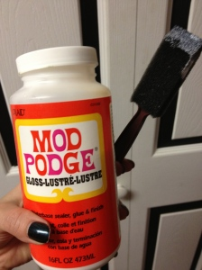 Modge Podge and sponge brush for corners or thin layer around all tape.
