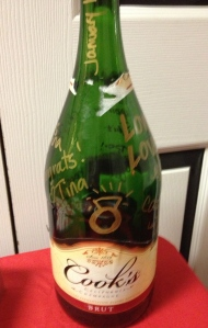 Fanciest champagne bottle of them all - Cook's signed by all party girl's for the engagement queen