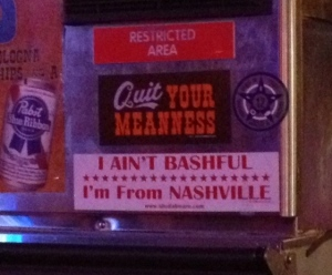 Somehow Nashvillians can make Bashful and Nashville rhyme...