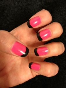 The black makes this mani a little rough around the edges.