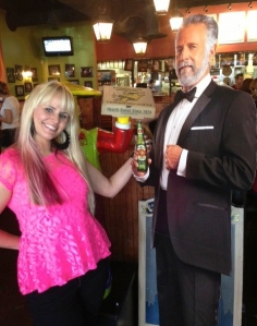 No, I'm not pregnant They wanted to meet someone famous. I introduced them to Mr. Dos Equis.