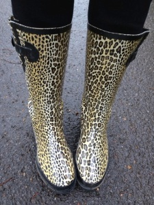 Rainy days make the leopard boots come out and play!