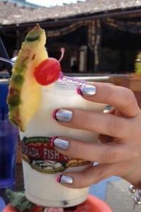 A Captain Colada with matching flashy nails. Sigh.
