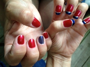 Double the A-mani-cas for the fourth. Mom on left CBXB on right.