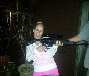Red neck? Fabulously trashy? Ultra stupid to give me a machine gun?