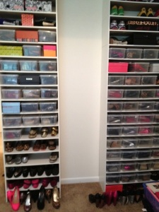 Wondering how in the world a gal like me has no shoes in her closet? Oh, they have their very own room. But that's a post for another day.