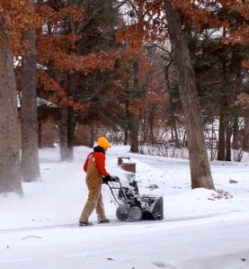Snow blower Winter lawn care in the North