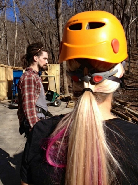 Already had a helmet on. Natural helmet head.