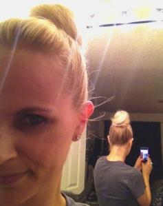 Behind the bun.