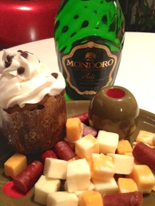 Fancy snacks. WEll, champagne is fancy.
