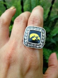 With rings.