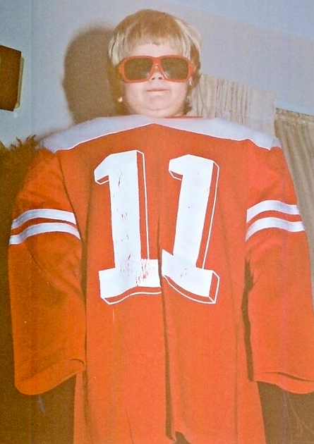 Sporting my dad's college jersey. Yes. He was a football playing stud who also was a cheerleader.