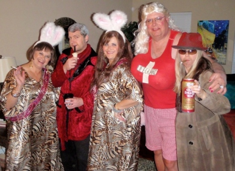 Playmate Crazy Pants, Hugh Hefner, Playmate Mama, Pam Man and yours truly.