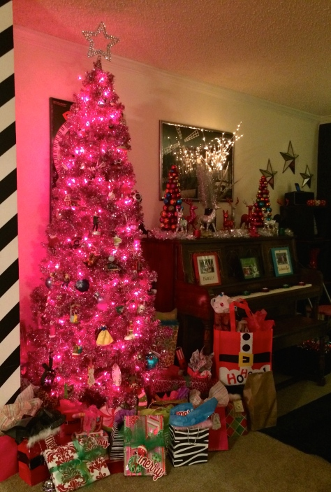 Gifts wrapped and under the pink fabulous