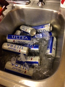 Classy lady cans in a clean, class sink cooler.