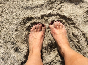 Toes in the sand with my chip and dip gut.