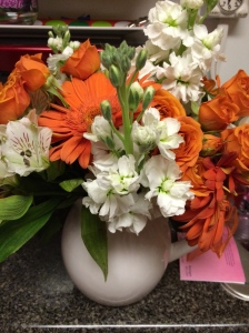 Greeted back to Nashville with Tennessee colored flowers compliments of my buddy and Vols fan Camo. So sweet.