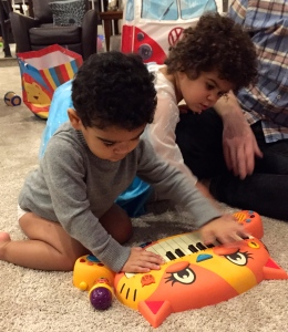And a piano for Prince B that his sister promptly took over.