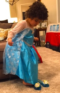 Present time! A ballgown and high heels, naturally.