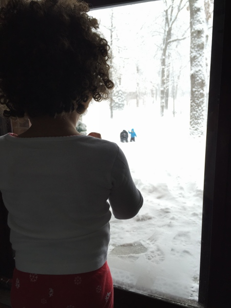Especially when you're Princess B and watch your twin bro in the snow as you keep warm.