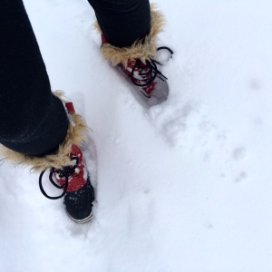 So I was off in my not pink snowboots.